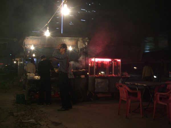 A common street food vendor in Wuhan.