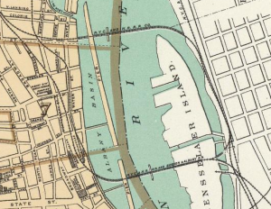 A closeup of downtown Albany termini from 1895. Click on the image to see a screen-sized version